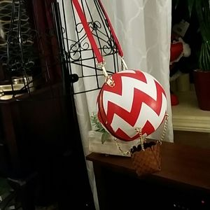 Hot air balloon  purse in red/white by Pink Haley